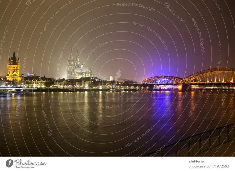 Köln Ferien & Urlaub & Reisen Tourismus Städtereise Wasser Nachthimmel Flussufer Deutschland Europa Stadt Dom Brücke Sehenswürdigkeit Wahrzeichen Kölner Dom