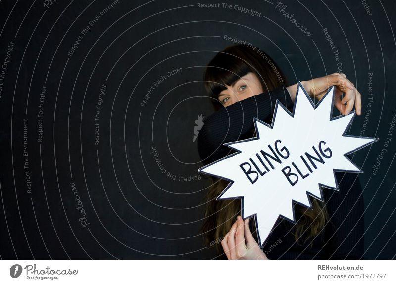 Bling Bling Stil Design Mensch feminin Junge Frau Jugendliche Erwachsene Gesicht 1 18-30 Jahre Kunst Kultur Haare & Frisuren brünett langhaarig Pony Zeichen