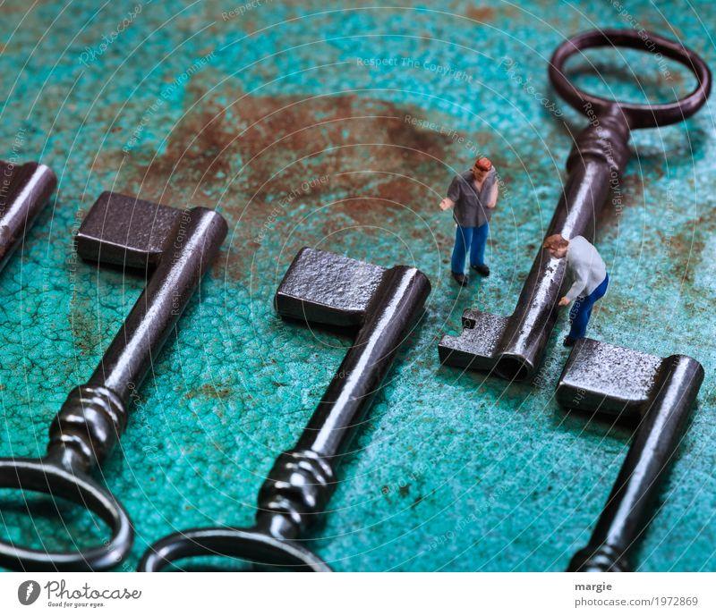 Miniwelten - Individualist Beruf Handwerker Arbeitsplatz Baustelle Werkzeug Technik & Technologie Mensch maskulin Mann Erwachsene 2 außergewöhnlich türkis