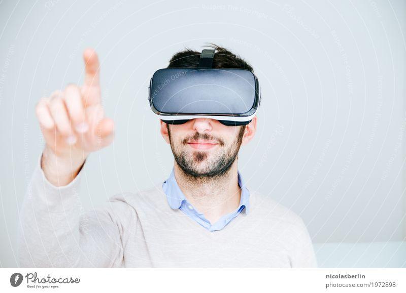 MP115 - VR touch Jugendliche Junger Mann Freude Spielen Business Design Büro modern Technik & Technologie Erfolg Lächeln Brille Internet Werbung Sitzung