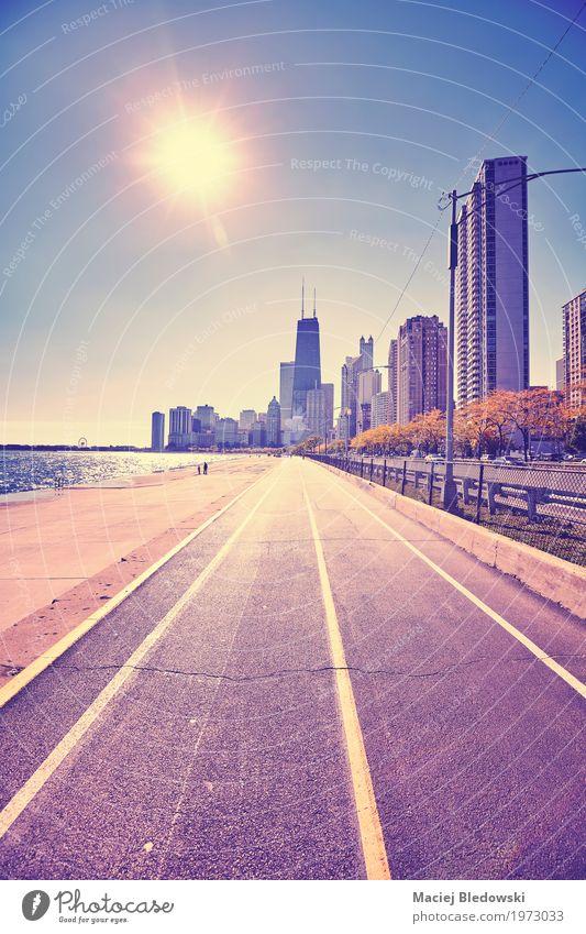 Chicago Waterfront gegen Sonne Ferien & Urlaub & Reisen Stadt Architektur Straße Wege & Pfade Gebäude Hochhaus USA Fahrradfahren Güterverkehr & Logistik