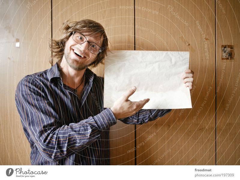 analog keynote Mensch maskulin Junger Mann Jugendliche Erwachsene Beratung Kommunizieren Lächeln lachen leuchten verkaufen frech Freundlichkeit lustig nerdig