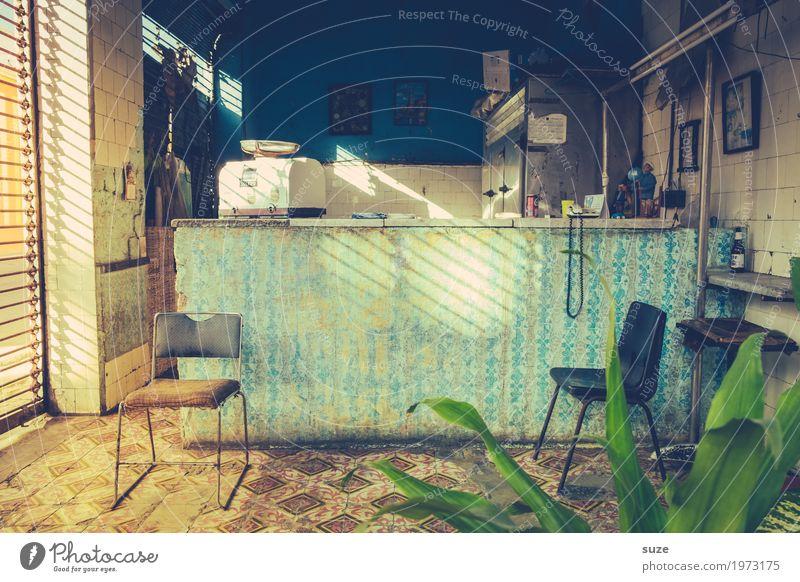 Volkswirtschaft Dekoration & Verzierung Stuhl Büro Waage Kultur Pflanze Grünpflanze Topfpflanze verkaufen alt Armut außergewöhnlich dreckig kaputt Kitsch trist