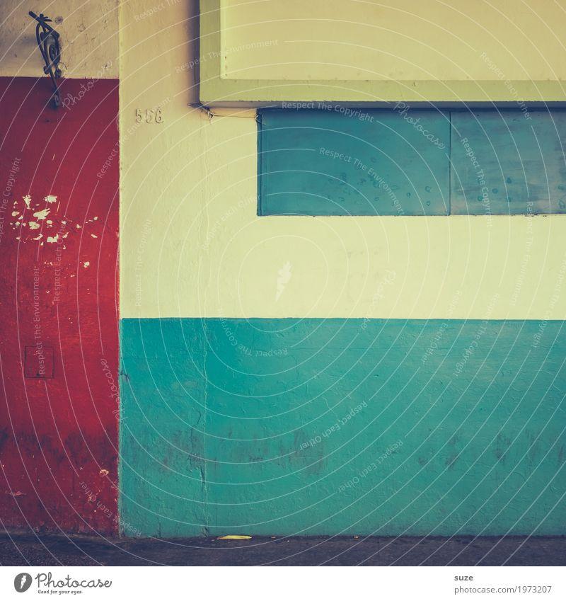 Einfach Kuba Stil Design Kultur Subkultur Fassade Zeichen Fahne alt authentisch dreckig einfach kaputt retro trist blau rot Verfall Vergangenheit