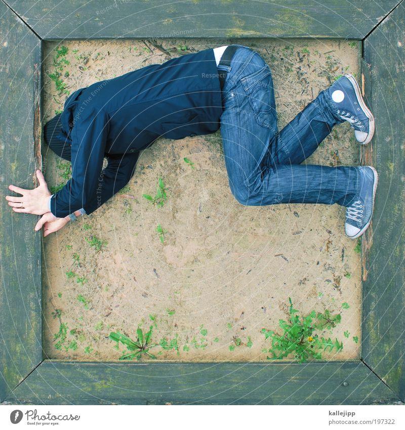 sandkastenrocker Mensch maskulin Mann Erwachsene 1 Jeanshose Jacke Turnschuh Mütze Spielen Sandkasten Spielfeld Rahmen Ecke Holz Löwenzahn Farbfoto