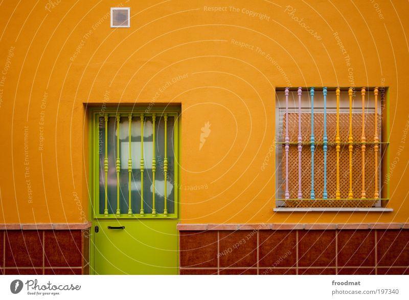 farbraum grün Haus Fenster Wand Mauer Tür Orange Fassade einzigartig trendy Frucht minimalistisch