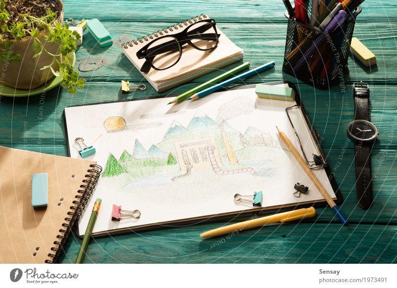 Umweltkonzept l Zeichnung Kind Natur Pflanze grün Baum Hand Lifestyle Kunst Business Erde Design Arbeit & Erwerbstätigkeit Textfreiraum Büro Tisch