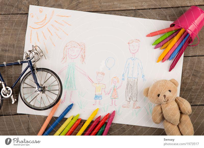 Zeichnung des Kindes einer glücklichen Familie Farbe grün weiß Erwachsene gelb Familie & Verwandtschaft Glück Kunst Schule Kreativität Baby Papier Mutter