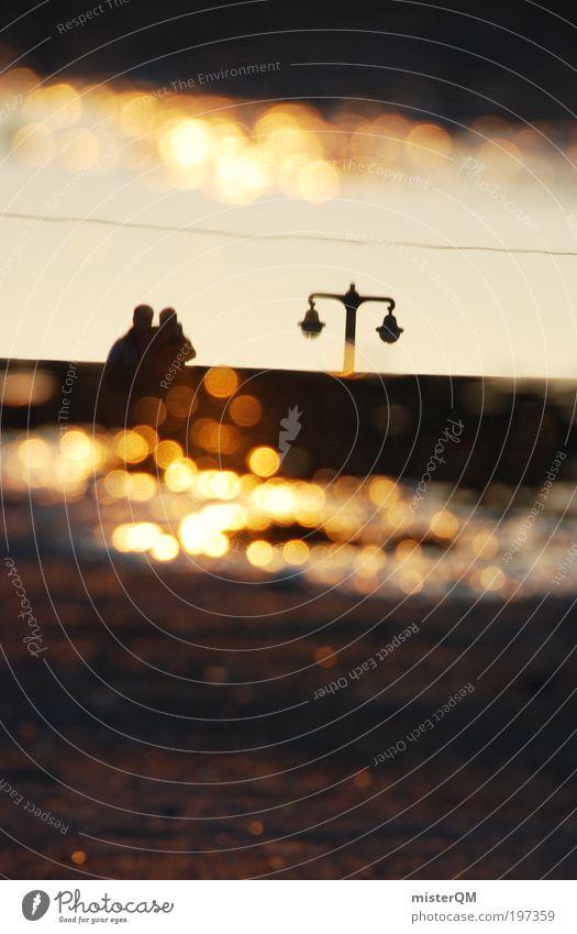 City Love. Paar Partner ästhetisch Liebe Reflexion & Spiegelung Abenddämmerung Sommer Sommerabend lau Sonnenuntergang Romantik Dresden Perspektive gold