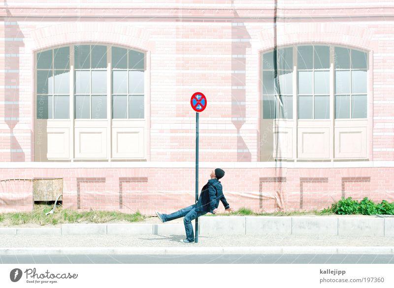 ugh! Mensch Mann Erwachsene Fenster Straße Fassade Schilder & Markierungen Verkehr Hinweisschild fallen Zeichen Bürgersteig Verkehrswege Desaster Unfall