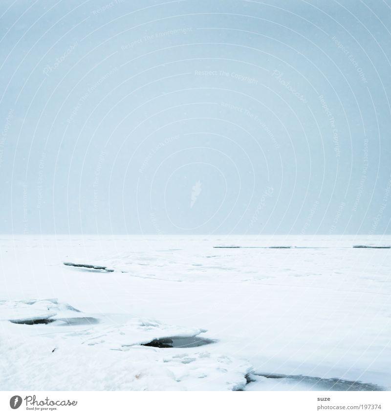 Eisdecke Umwelt Natur Landschaft Himmel Wolkenloser Himmel Horizont Winter Klima Frost Schnee Küste Ostsee außergewöhnlich eckig einfach fantastisch kalt blau
