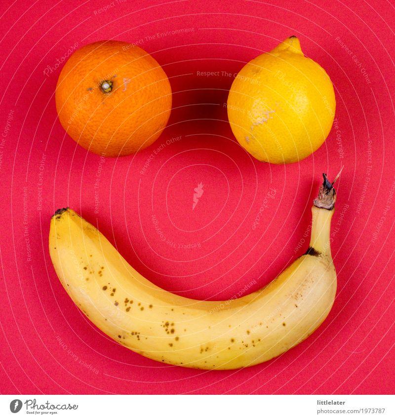 freundliches Obst Lebensmittel Frucht Essen Frühstück Picknick Bioprodukte Vegetarische Ernährung Diät dünn Banane Zitrone Orange gelb rot rosa Gesicht lustig