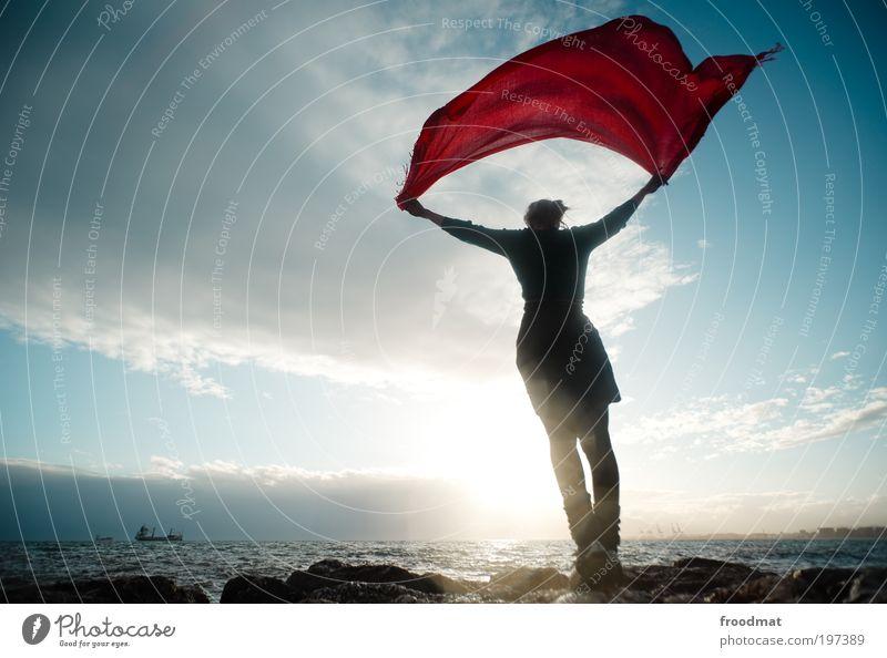 schifflotse Frau Natur Jugendliche Wasser Sommer Meer Strand Erwachsene Erholung Umwelt Leben Freiheit Glück Küste Luft träumen