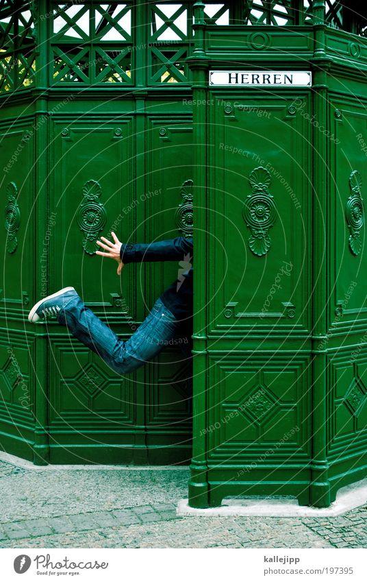 geschäfte machen Bad Mensch maskulin Mann Erwachsene Leben Hand Finger Beine 1 Stadt Bahnhof rennen lustig Toilette Herrentoilette Handel antik Sehenswürdigkeit