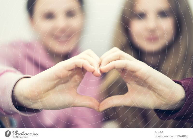 Best Friends Mensch Jugendliche Junge Frau schön Hand Freude Mädchen Liebe feminin Haare & Frisuren Kopf Zusammensein rosa Freundschaft 13-18 Jahre blond