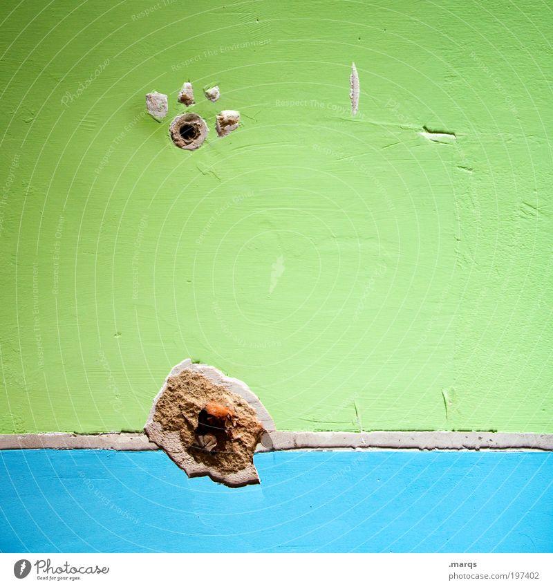 Coastline grün blau Wand Mauer hell Design Beton Innenarchitektur Verfall bauen Renovieren trendy Handwerker Beruf Textfreiraum links abstrakt