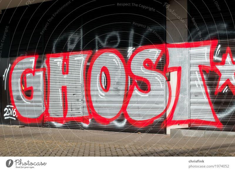 GHOST Graffiti Lifestyle Design Freude Haus Kunst Menschenleer Hochhaus Industrieanlage Mauer Wand Zeichen Schriftzeichen zeichnen ästhetisch rot schwarz silber