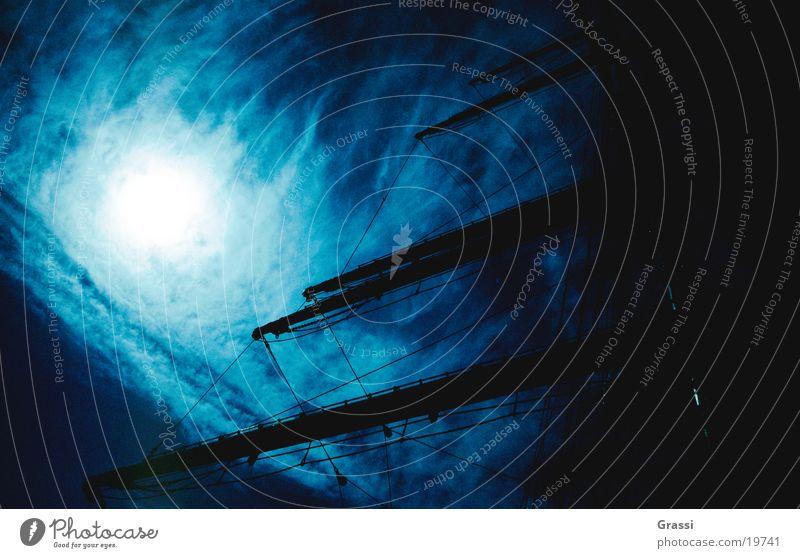 Windjammer Himmel blau Meer Wind Seil Segeln Tau Schifffahrt Blauer Himmel Fahnenmast Mast Seemann Segelschiff Schiffsbug Kapitän Anker