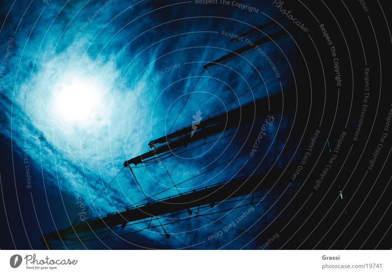 Windjammer Himmel blau Meer Seil Segeln Tau Schifffahrt Blauer Himmel Fahnenmast Mast Seemann Segelschiff Schiffsbug Kapitän Anker