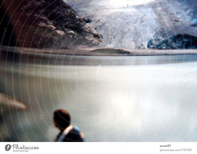 Suspense Urelemente Klima Klimawandel wandern Gebirgssee Gletscher See Teich Binnensee Naturschauspiel verschwommen unscharf Traum Positive Liquid Vulkaninsel