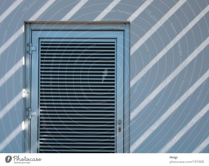 Streifen... Haus Gebäude Mauer Wand Fassade Tür Scharnier Zarge Lamelle Stein Beton Ornament Linie Schloss ästhetisch außergewöhnlich einzigartig blau weiß