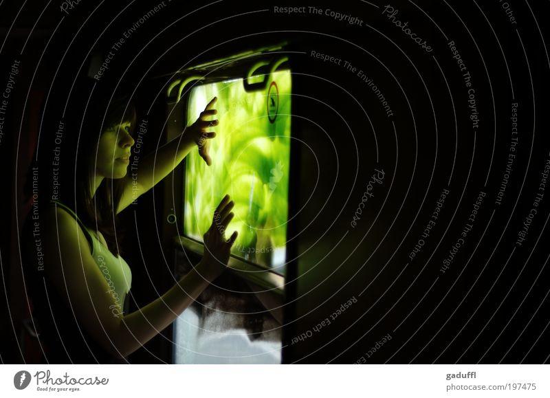 Im Grünen feminin Junge Frau Jugendliche 1 Mensch 18-30 Jahre Erwachsene Bahnfahren Eisenbahn Personenzug schwarzhaarig brünett langhaarig Pony Glas Metall