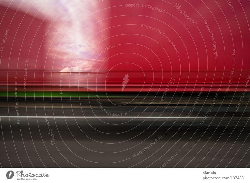 autobahn impression III Himmel rot Ferien & Urlaub & Reisen Wolken Linie Straßenverkehr Verkehr Geschwindigkeit Ausflug fahren Güterverkehr & Logistik Lastwagen