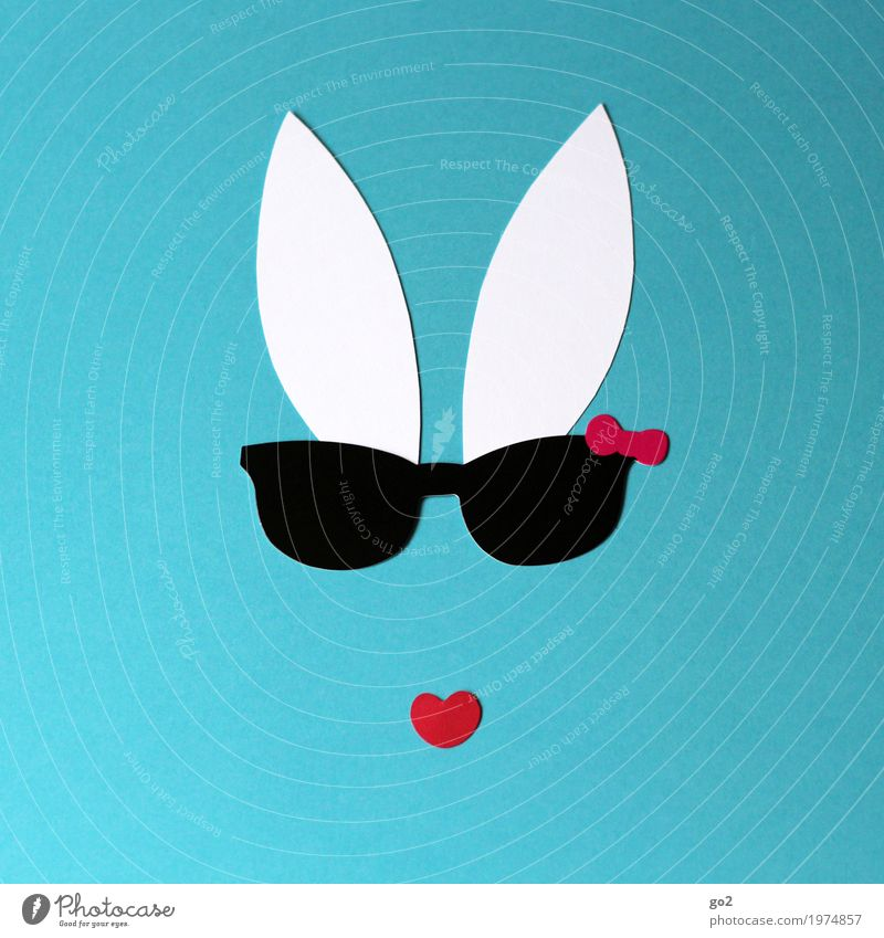 Cooles Häschen Freizeit & Hobby Basteln Ostern Sonnenbrille Tiergesicht Hase & Kaninchen Ohr Papier Herz ästhetisch Coolness einfach lustig Klischee Vorfreude