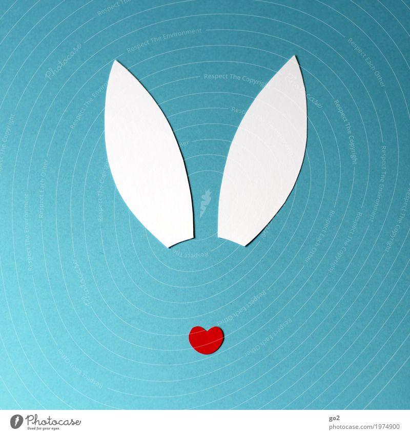 Osterhasi Basteln Ostern Tier Tiergesicht Hase & Kaninchen Ohr 1 Dekoration & Verzierung Zeichen Herz ästhetisch einfach Fröhlichkeit lustig Erotik feminin blau