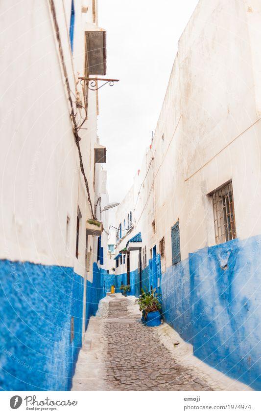 Rabat Dorf Stadt Altstadt Menschenleer Mauer Wand Fassade blau weiß Marokko Gasse mediterran Farbe Farbfoto Außenaufnahme Tag Weitwinkel