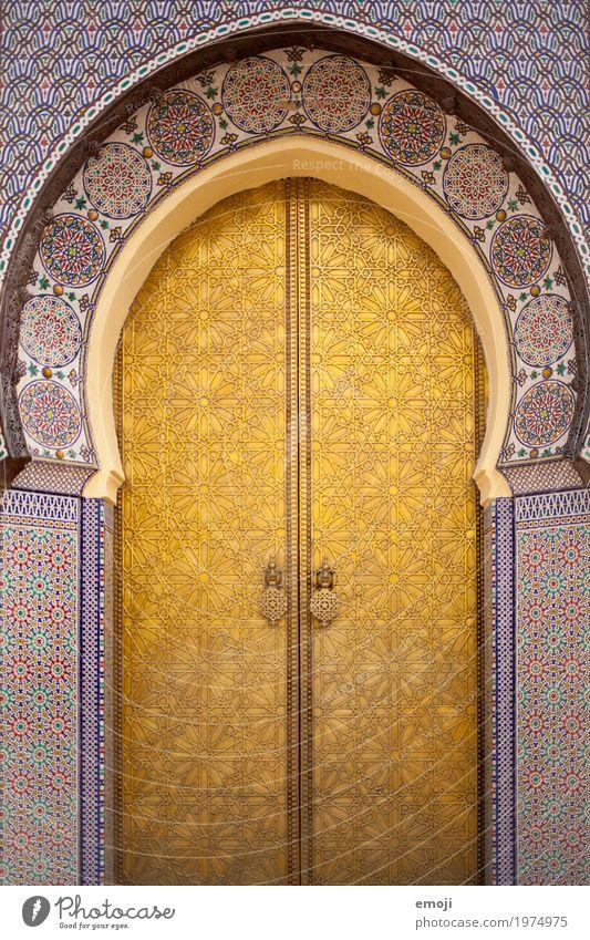 Tor Haus Traumhaus Kirche Palast Bauwerk Gebäude Moschee Sehenswürdigkeit Kitsch gold Ornament Marokko Marrakesch Farbfoto Außenaufnahme Muster
