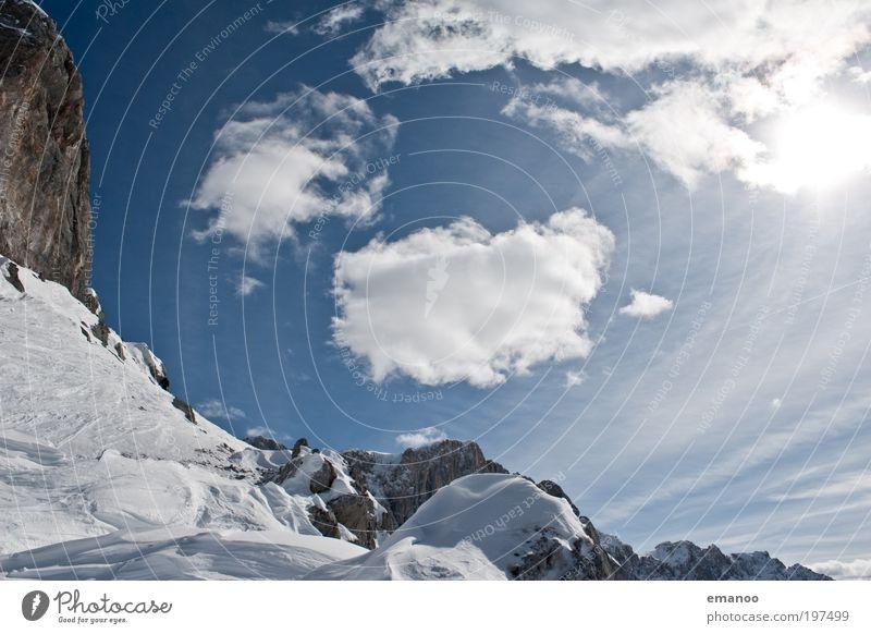 alpen Natur Ferien & Urlaub & Reisen Sonne Landschaft Wolken Winter Berge u. Gebirge Umwelt Bewegung Schnee Freiheit Felsen Wetter Eis Ausflug Gipfel