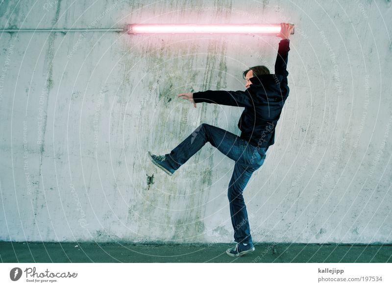 darth vader Mensch Mann Erwachsene Kraft maskulin Energie Elektrizität Jeanshose stark Jacke Krieg Kino Schuhe kämpfen Turnschuh Neonlicht