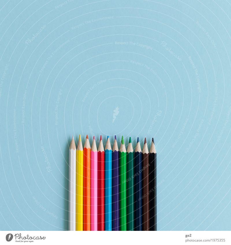 Zeichenstifte blau Farbe Kunst Schule Design Freizeit & Hobby Büro ästhetisch Kreativität einzigartig Idee Papier Studium Team zeichnen Werbebranche