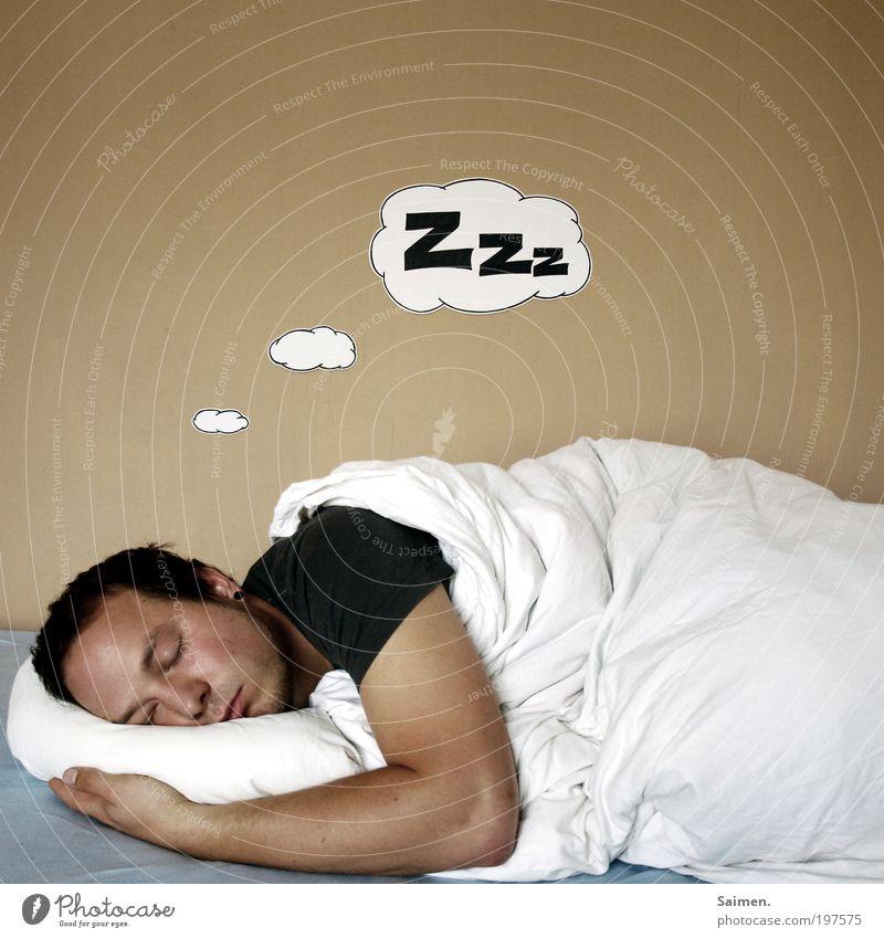 mittagsschläfchen Mann ruhig Leben Erholung Glück träumen Kopf Zufriedenheit Gesundheit Erwachsene maskulin schlafen Bett T-Shirt liegen Sehnsucht