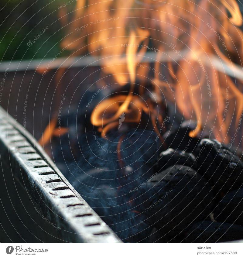 no SMOKE without a fire schwarz Wärme orange Feuer heiß Rauch Grillen Flamme Kochen & Garen & Backen Grill Kohle Grillrost Menschenleer Grillkohle