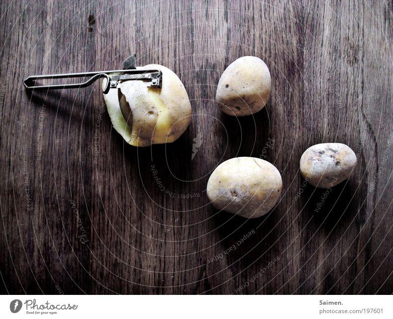 Hausarbeit Holz Gesundheit Lebensmittel Ernährung Tisch Küche lecker Diät Mittagessen Haushalt Vegetarische Ernährung bescheiden Kartoffeln sparsam Möbel