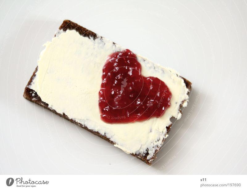 Liebe zum Frühstück Lebensmittel Milcherzeugnisse Frucht Brot Marmelade Ernährung Teller Herz Coolness eckig Kitsch süß weiß Freude Glück Verliebtheit Butter