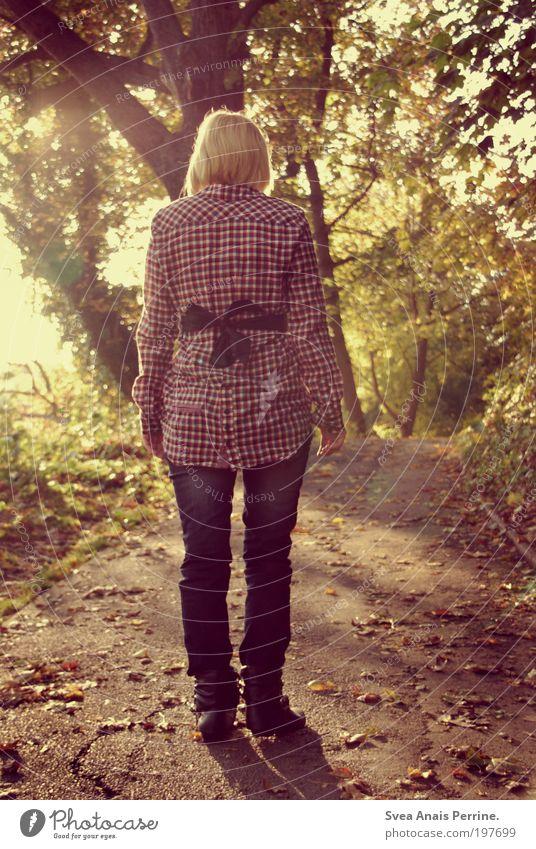 zeit mit dir. Natur Jugendliche schön Pflanze Sonne Blatt Einsamkeit gelb Umwelt Herbst feminin Bewegung Mode Park Zufriedenheit Schuhe