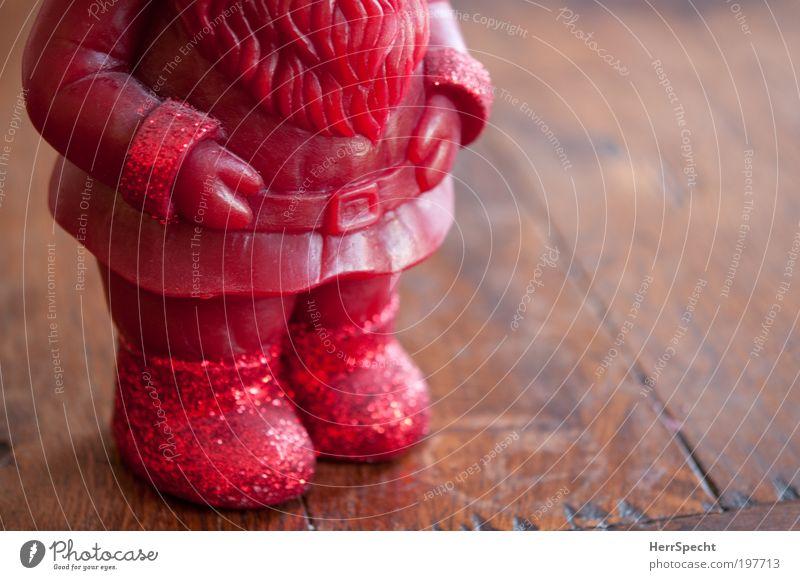 Don't step on my red Glitzer-Schuhs Weihnachten & Advent rot Holz braun warten Kerze Weihnachtsmann dick Gürtel Vollbart Gartenzwerge Unschärfe