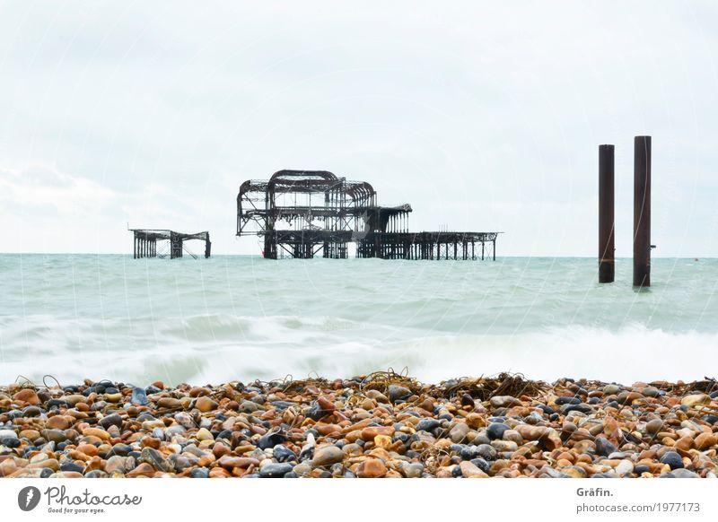 Sommererinnerungen Natur Ferien & Urlaub & Reisen blau weiß Landschaft Meer Erholung Einsamkeit ruhig Ferne Strand Umwelt Küste Tourismus orange
