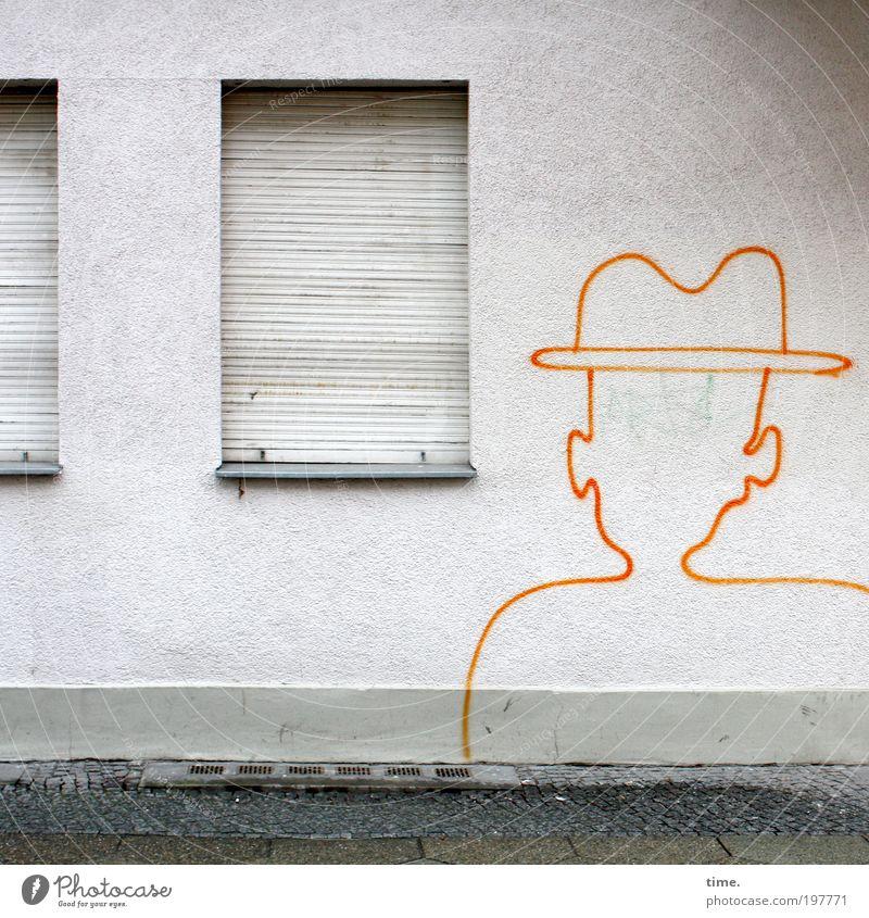 Großstadtcowboyschablone Farbe Wand Fenster Farbstoff Mauer orange geschlossen Ohr Hut Bürgersteig Kontrolle Kopfsteinpflaster Wachsamkeit Verabredung anonym