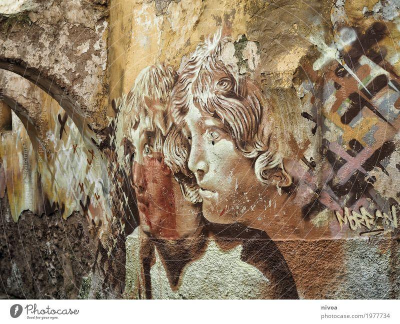 Engel maskulin Mann Erwachsene 2 Mensch Kunst Künstler Maler Kunstwerk Graffiti Marokko Dorf Kleinstadt Mauer Wand Fassade Wege & Pfade Tunnel Locken Beton