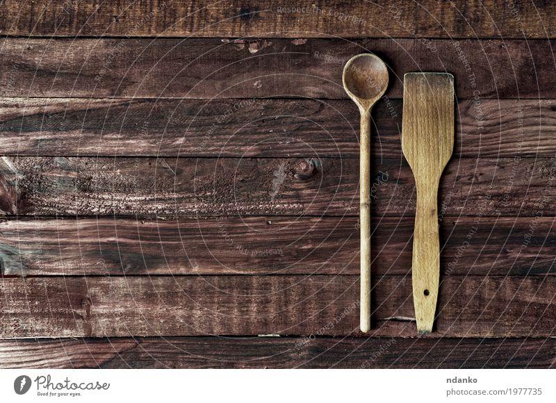 alt Speise Holz braun retro Tisch Küche Top Oberfläche Löffel