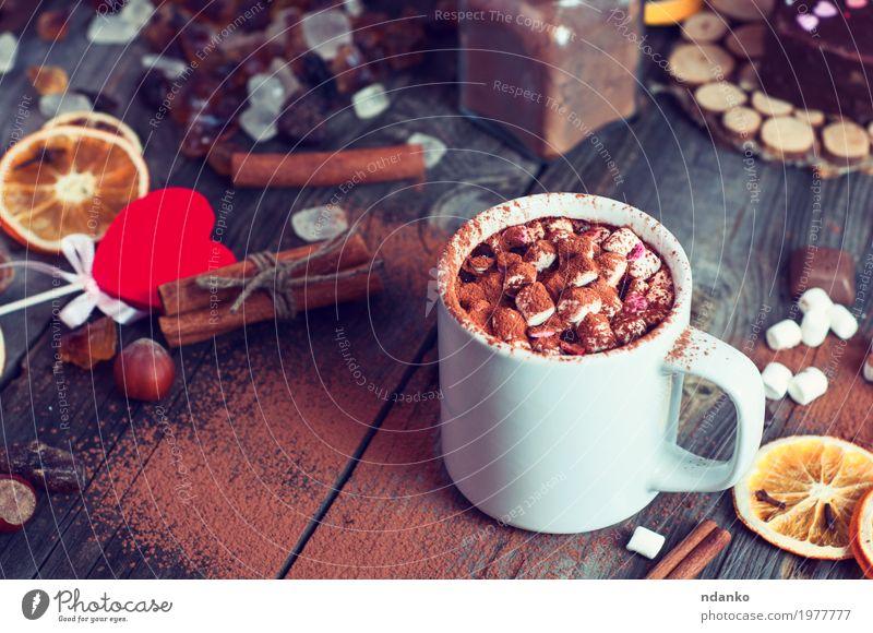 Trink heiße Schokolade mit Marshmallows rot Winter Essen Holz grau braun oben Frucht frisch Tisch Herz Kräuter & Gewürze Getränk Kaffee trinken Süßwaren