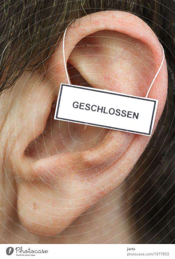 geschlossen Mensch Ohr 1 Hinweisschild Warnschild hören sprechen Kommunizieren Leben weghören Farbfoto Studioaufnahme Nahaufnahme Detailaufnahme