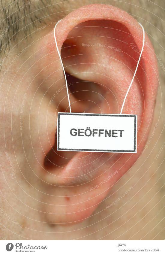 geöffnet Mensch Leben natürlich maskulin Kommunizieren Hinweisschild Ohr hören positiv Warnschild