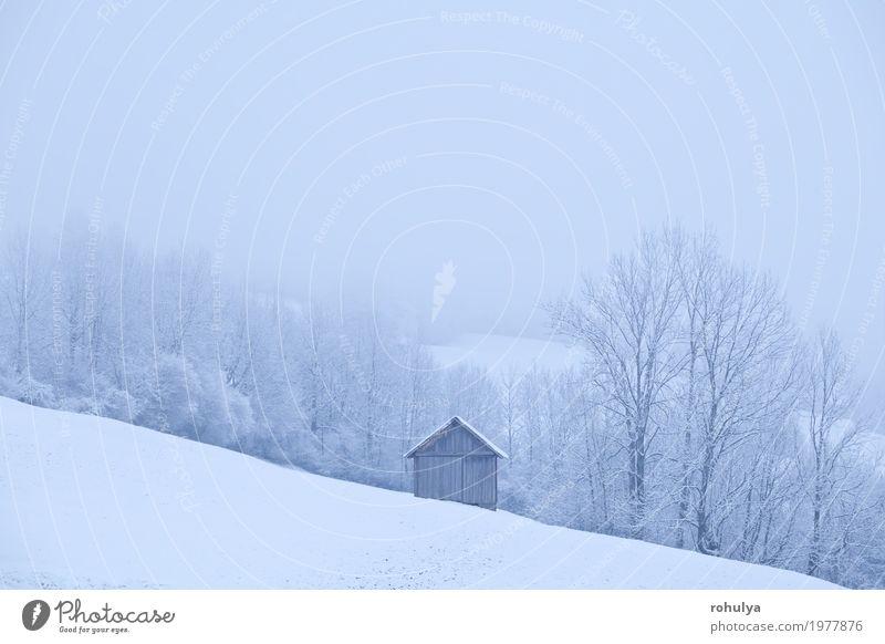 Holzhütte während des frostigen Morgens in den Alpen Ferien & Urlaub & Reisen Winter Schnee Berge u. Gebirge Haus Natur Landschaft Wetter Nebel Schneefall Baum