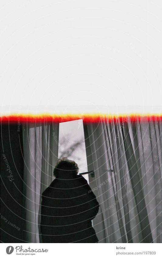 Vorhang auf Frau Mensch Mann Einsamkeit Fenster träumen Traurigkeit Linie Angst Erwachsene Hoffnung Wandel & Veränderung Sehnsucht Schwarzweißfoto Neugier