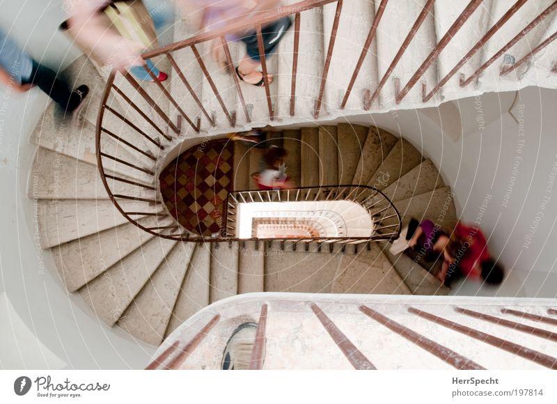 The only way is up Mensch maskulin Menschengruppe Haus Gebäude Architektur Treppe rennen oben mehrfarbig weiß Ausdauer Treppenhaus Treppengeländer steigen